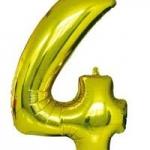 """ลูกโป่งฟอยล์รูปตัวเลข 4 สีทอง ไซส์เล็ก 14 นิ้ว - Number 4 Shape Foil Balloon Size 14""""Gold Color"""