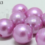 ลูกปัดมุก พลาสติก สีม่วงอ่อน 16มิล 1 ขีด (49ชิ้น)
