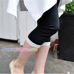 กางเกงคลุมท้องขาสี่ส่วน ขอบลายลูกไม้ขาว : สีดำ รหัส PN090