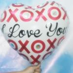 ลูกโป่งฟลอย์รูปหัวใจ พิมพ์ลายI Love U - XOXO สีขาว ไซส์ 18 นิ้ว - Heart Shape Foil Balloon / Item No. TL-E062