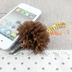 สายห้อย iPhone 4/4s พู่น้ำตาลสายห้อยเพชร