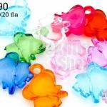 จี้พลาสติก สีใส ช้าง คละสี 16X20มิล(1ขีด/130เม็ด)