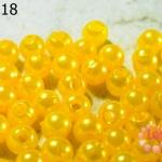 ลูกปัดมุก พลาสติก สีเหลือง 8 มิล 1 ขีด