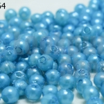 ลูกปัดมุก พลาสติก สีฟ้าเข้ม 4มิล (1ขีด/100กรัม)