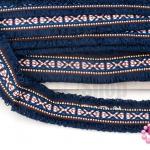 ผ้าแถบลายชนเผ่า สีกรม กว้าง 4.5ซม(1หลา/90ซม)