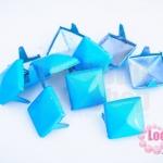 เป็กติดเสื้อ ทรงสี่เหลี่ยม สีฟ้า 12 มิล(10ชิ้น)