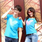 ชุดคู่ เสื้อคู่รัก ชาย+หญิง เสื้อยืดคอกลมสีฟ้า ลายหัวใจ +พร้อมส่ง+