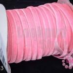 เชือกผ้า ริบบิ้นกำมะยี่ สีชมพูอ่อน (1ม้วน/50หลา)