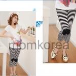 PK048 กางเกงคนท้อง โทนสีดำสลับขาว ขาสีส่วน เข่าแต่งด้วยสีดำ