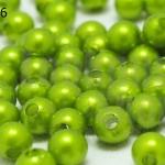 ลูกปัดมุก พลาสติก สีเขียวมะนาว 5มิล (1ขีด/100กรัม)