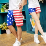 กางเกงคู่รัก ชาย + หญิงกางเกงขาสั้น ลายธงชาติเมกา +พร้อมส่ง+