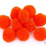 ปอมปอมไหมพรม สีส้มแสด 3ซม (10ชิ้น)