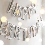ลูกโป่งฟลอย์ข้อความ Happy Birthday สีเงิน ติดกำแพง / Item No.TL-H008