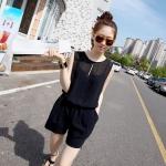 จั๊มสูทแฟชั่นเกาหลี ช่วงอกเย็บแต่งผ้าสีทรู สีดำ