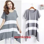K4023 เสื้อคลุมท้องแฟชั่นเกาหลี โทนสีเทา ผ้ายืดนิ่มมากๆ ค่ะ ใส่เย็นสบาย สินค้าเหมือนแบบ 100%