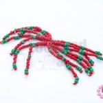พู่ลูกปัดจีน สีแดง-สีเขียว ยาว 5 ซม. (1ชิ้น)
