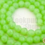 คริสตัลจีน ทรงกลมเจียร สีเขียวอ่อนขุ่น 8มิล(1เส้น)