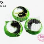 ลูกปัดกังไส สีเขียวอ่อน ทรงกลมแบน 14x5 มิล (1ชิ้น)