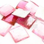เพชรแต่ง สี่เหลี่ยม สีชมพู ไม่มีรู 18มิล(10ชิ้น)