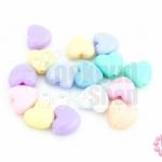 ลูกปัดพลาสติก สีพาลเทล หัวใจ คละสี 9มิล(1ขีด)