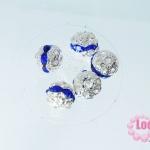 ตัวแต่งสร้อยหินนำโชคบอลเพชร แถวเดียวสีเงิน เพชร สีน้ำเงิน 10 มิล