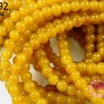 หินหยกน้ำผึ้ง กลม เหลือง 6มิล (จีน) (1เส้น)