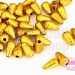 ลูกปัดพลาสติกเคลือบสีทอง ทรงหยดน้ำ 6X10มิล(1ขีด/548ชิ้น)