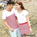 เสื้อคู่รัก ชายเสื้อยืดคอกลม + หญิงเดรสคอวีจั้มเอว แต่งลายกระโปรงสีแดงขาว ปักหน้าอกเลข 17 +พร้อมส่ง+