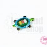 ลูกปัดกังไส เต๋าน้อย สีเขียว-ฟ้า 14X20มิล(1ชิ้น)
