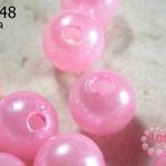 ลูกปัดมุก พลาสติก สีชมพู 18 มิล (1ขีด/100กรัม)