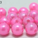 ลูกปัดมุก พลาสติก สีชมพู 10มิล 1 ขีด (206ชิ้น)