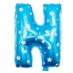 """ลูกโป่งฟอยล์รูปตัวอักษร N สีฟ้าพิมพ์ลายดาว ไซส์เล็ก 14 นิ้ว - N Letter Shape Foil Balloon Size 14"""" Blue color printing Star"""