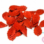 เลื่อมปัก ใบไม้ สีแดงดิสโก้ 14X24มิล(5กรัม)