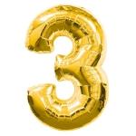 """ลูกโป่งฟอยล์รูปตัวเลข 3 สีทองไซส์เล็ก 14 นิ้ว - Number 3 Shape Foil Balloon Size 14"""" Gold Color"""