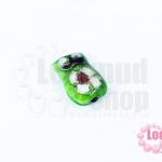 ลูกปัดกังไส นกฮูก สีเขียวอ่อน 10X14มิล(1ชิ้น)