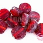 ลูกปัดแก้ว กลมแบน สีแดง 15มิล(1ขีด/41ชิ้น)