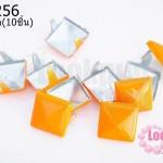 เป็กติดเสื้อ ทรงสี่เหลี่ยม สีส้ม 12 มิล(10ชิ้น)