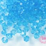 คริสตัลพลาสติก ทรงไบโคน สีฟ้า 5 มิล