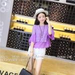 เสื้อแฟชั่นเกาหลี เย็บแต่งช่วงตัวเสื้อแบบ 2 ชั้น ด้วยผ้าลูกไม้ลายเล็ก สีม่วง