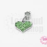 ตัวแต่งโรเดียมชุบเงิน จี้รูปหัวใจ เพชรสีเขียว 17X26มิล(1ชิ้น)