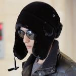 หมวกแฟชั่นเกาหลีพร้อมส่ง ปิดหูครอบหัว กันหนาวหิมะ สีดำ