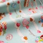 ผ้าคอตตอน ผ้าฝ้าย ญี่ปุ่น ลาย ขนมเค้ก สีเขียงน้ำทะเล ของ Cosmo Textile เนื้อฝ้ายแท้ 100% น่ารักมากค่ะ