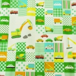 คอตตอนลินินญี่ปุ่นลายรถตัก โทนสีเขียว เนื้อหนา เหมาะทำกระเป๋า ปลอกหมอน ปูโต๊ะ