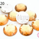 เพชรแต่ง กลม สีส้มอ่อน มีรู 18มิล(10ชิ้น)
