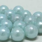 ลูกปัดมุก พลาสติก สีฟ้าอ่อน 10มิล 1 ขีด (206ชิ้น)