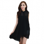 เสื้อชีฟองตัวยาวกระดุมผ่าหน้ามีซับในเต็มตัว - สีดำ ชุดทำงานสีดำ