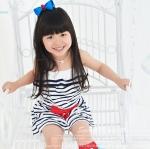 เสื้อผ้าเด็ก ชุดเดรสเด็กผู้หญิง ลายขวาง สีขาวสลับดำ