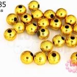 ลูกปัดพลาสติกเคลือบสีทอง กลม 8มิล (1ขีด/378ชิ้น)