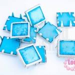 เป็กติดเสื้อ ทรงสี่เหลี่ยม สีฟ้าลายเทอร์ค้อย 13 มิล(10ชิ้น)