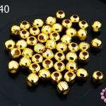 ลูกปัดโลหะ สีทอง กลม 5มิล (1ขีด/100กรัม)